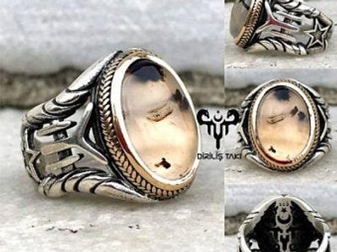 Kayi Tribe Mens Agate Silver Ring 0111