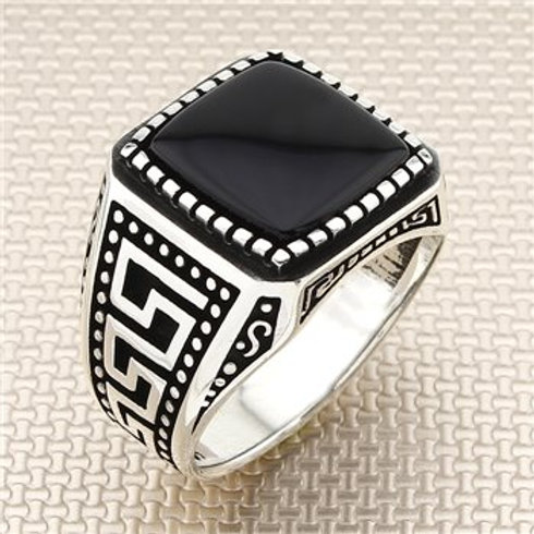 925 carat square small stone onyx ring
