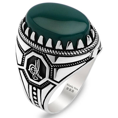 Silver 925 Carat Ottoman Style Green Agate Ring