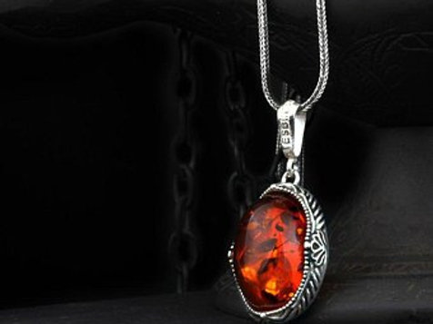 925 Silver Amber Stone Mens Necklace