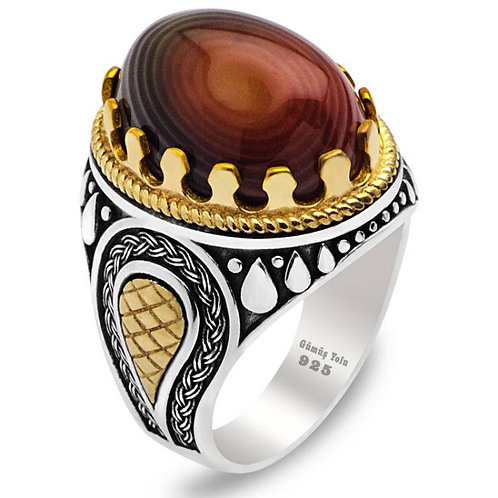 Agate Stone 925 Carat Silver Ring