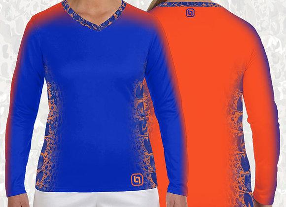 BGO Performance 2-Tone Orange & Blue Camo Women's Long Sleeve