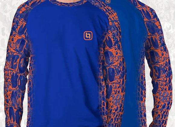 BGO Performance Blue & Blue Orange Accents Camo Long Sleeve
