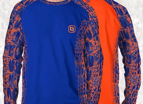 BGO Performance 2-Tone Orange & Blue Camo Long Sleeve