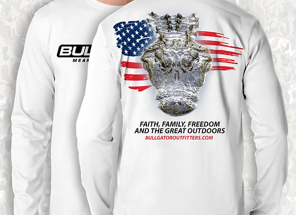 BullGator Performance Logo Gator/Flag Camo Vintage Long Sleeve