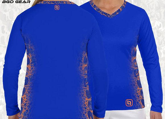 BGO Performance Blue with Orange Accents Camo Women's Long Sleeve