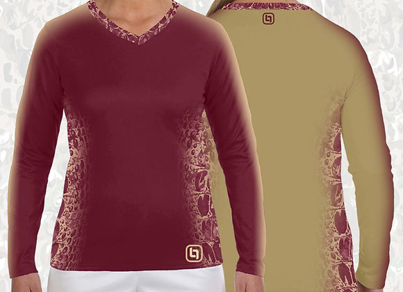 BGO Performance 2 Tone Garnet & Gold Camo Women's Long Sleeve