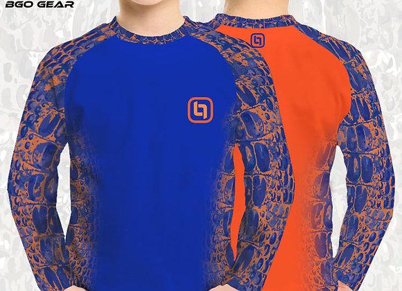 BGO Youth Performance 2-Tone Orange & Blue Camo Long Sleeve