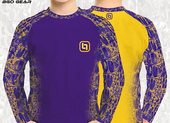 BGO Youth Performance 2-Tone Purple & Yellow Camo Long Sleeve