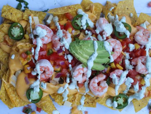 Shrimp Nachos with Mango Pico de Gallo and Cilantro-Lime Crema