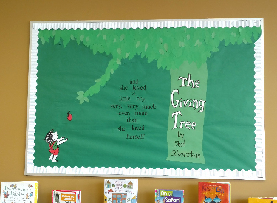 Christmas Tree Display Board.The Giving Tree Bulletin Board