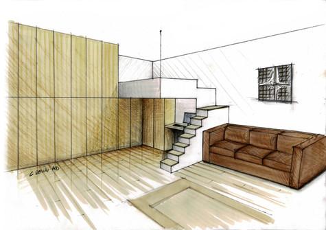 Etude pour l'aménagement d'un studio parisien