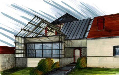 Création d'une liaison entre une maison bourgoise et une dépendance