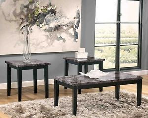3 Piece Gray Faux Marble End Table Set