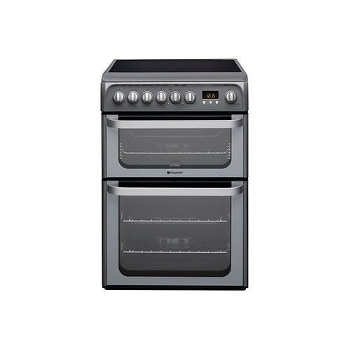 Hotpoint HUE61G 60cm Double Oven & Ceramic Top in Graphite