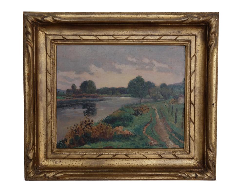 """Eugène Corneau (Frans, 1894-1976)  """"Riviergezicht"""", olieverf op houten paneeltje. Formaat: 21,6 x 27 cm. Antieke lijst.  Prijs: 375 Euro"""