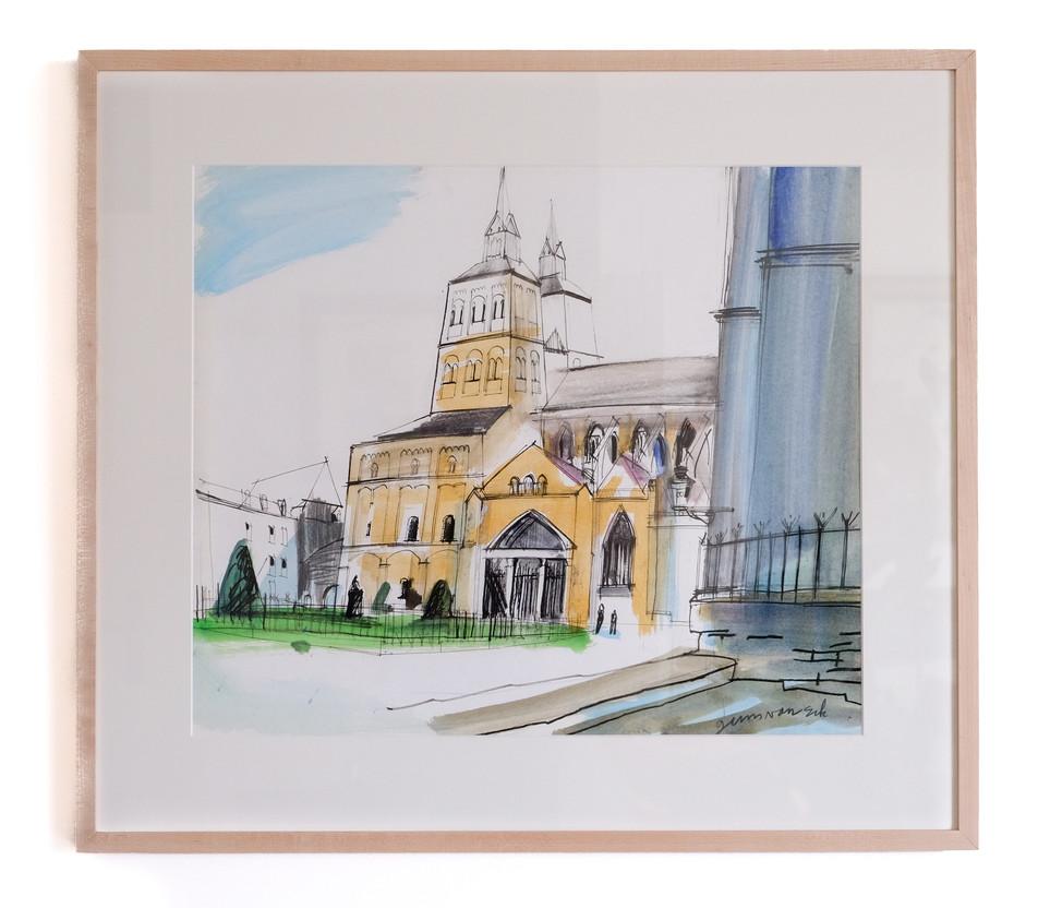 """Guus van Eck (1958)  """"Henric van Veldekeplein Maastricht"""" Tekening-gouache op papier, 1997 Beeldmaat: 52 x 61 cm. Inclusief Esdoorn Barth lijst.  Prijs: 595 Euro"""