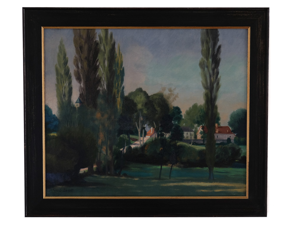 """Henri Vergé-Sarrat (Belgisch-Frans, 1880-1966 )  """"Entrée de Cressy-sur-Somme"""". Olieverf op doek. Formaat; 46 x 55 cm.  Prijs: 595 Euro"""