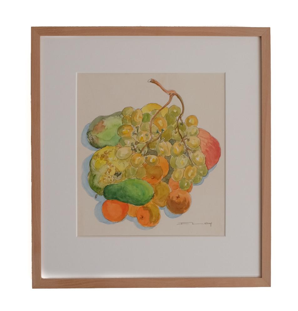 """Fernand Larue (Frans, 1916-1999)  """"Raisins, Pommes, Poires, Mandarines"""".  Aquarel, 1978. Beeldmaat: 27,0 x 24,5 cm. Kersenhouten lijstje, Clarity glas.  Prijs: 195 Euro"""