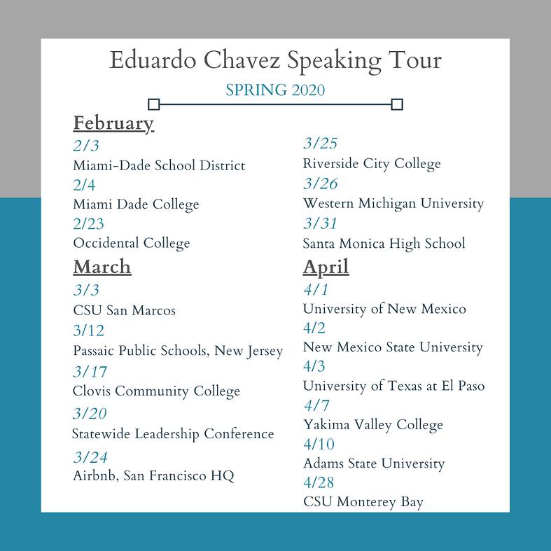 Eduardo Chavez Speaking Tour Spring 2020