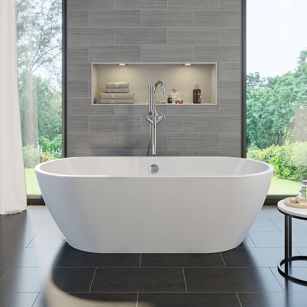 Lane Mechanical Associates, bathtub, towels, Windows, outdoors, curtains, trees, bathroom,