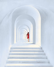 woman-in-red-dress-standing-in-white-arc