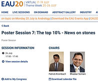 #EAU20 Theme Week - Poster Session 7: The top 10% - News on stones