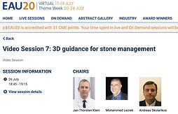 #EAU20 Theme Week - Video Session 7: 3D guidance for stone management