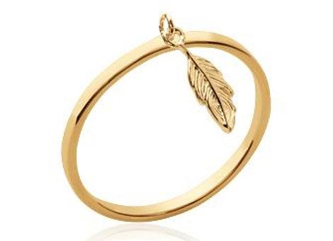 Bague en plaqué or avec pampille plume