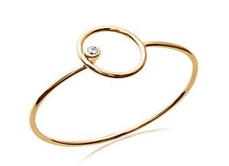 Bracelet jonc rigide cercle en plaqué or et oxyde de zirconium.
