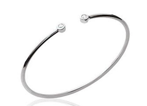Bracelet jonc rigide en argent 925 rhodié et oxyde de zirconium.