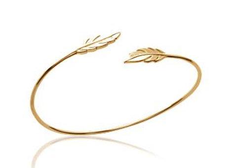 Bracelet jonc plume en plaqué or