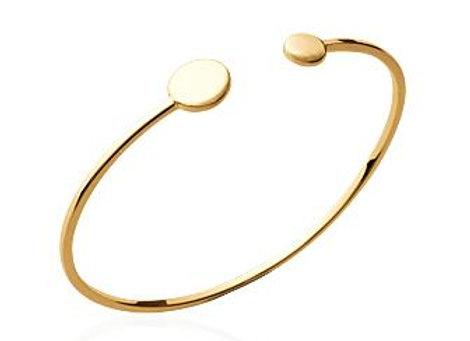 Bracelet jonc pastilles en plaqué or