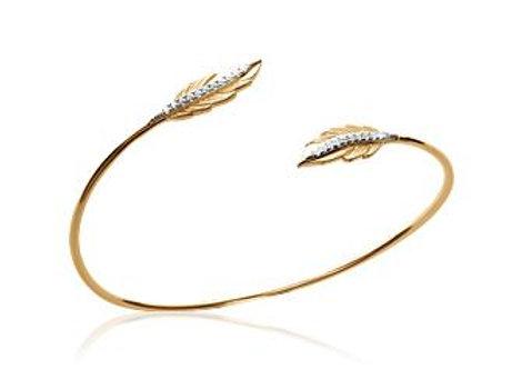 Bracelet jonc rigide plume en plaqué or et oxyde de zirconium.