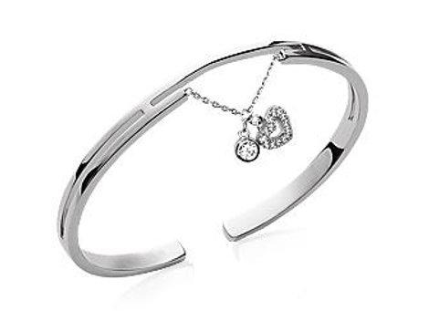 Bracelet jonc rigide coeur en argent rhodié et oxyde de zirconium