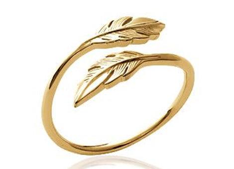 Bague plume plaqué or