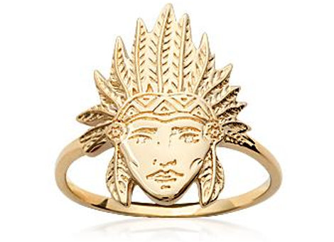Bague tête d'indien en plaqué or