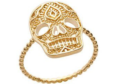 Bague tête de mort en plaqué or