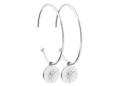 Boucles d'oreilles créoles argent et oxydes de zirconium.