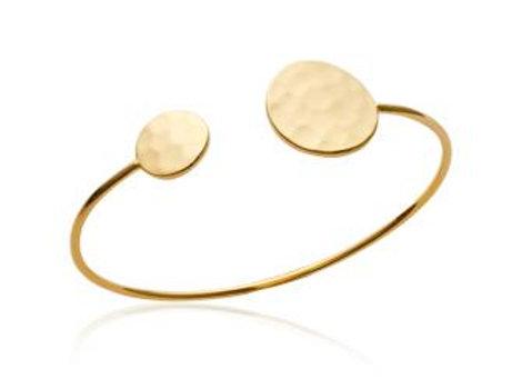 Bracelet jonc pastilles martelé en plaqué or