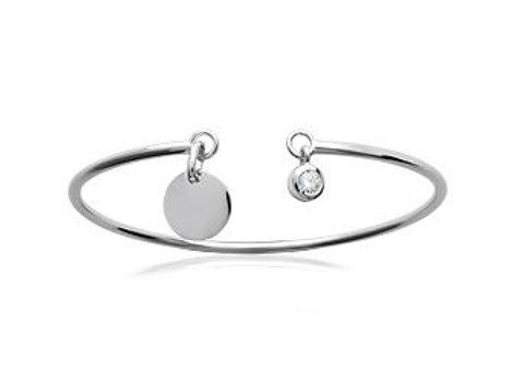 Bracelet jonc rigide pampille en argent rhodié et oxyde de zirconium