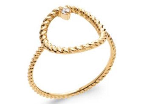 Bague cercle tressé en plaqué or
