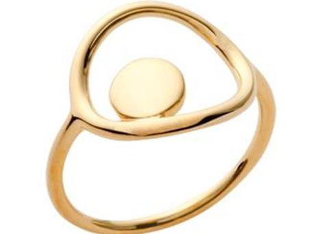 Bague cercle et pastille en plaqué or
