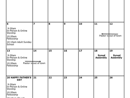 Church Calendar: June 2021 at a Glance