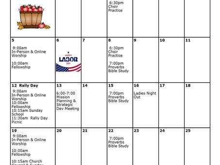Church Calendar: September 2021 at a Glance