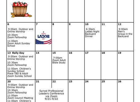 Church Calendar: September 2020 at a Glance