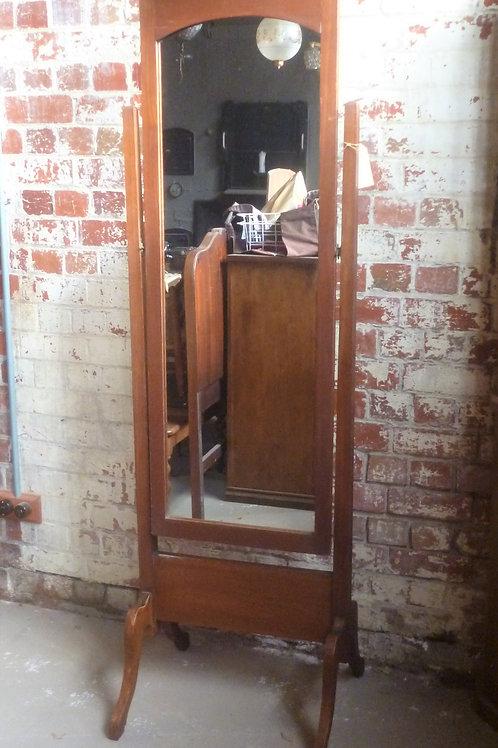 1930's hardwood cheval mirror