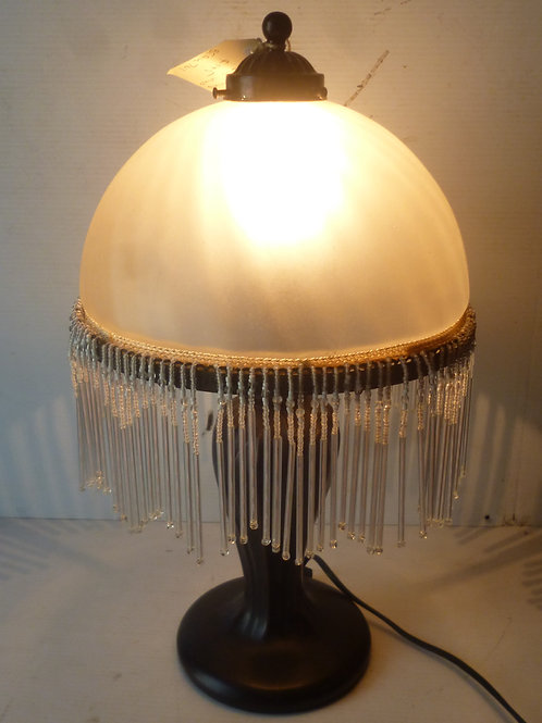 Vintage beaded glass table lamp