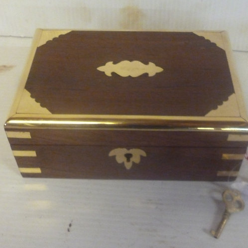 Handcrafted wooden jewellery  chest med inlaid with brass