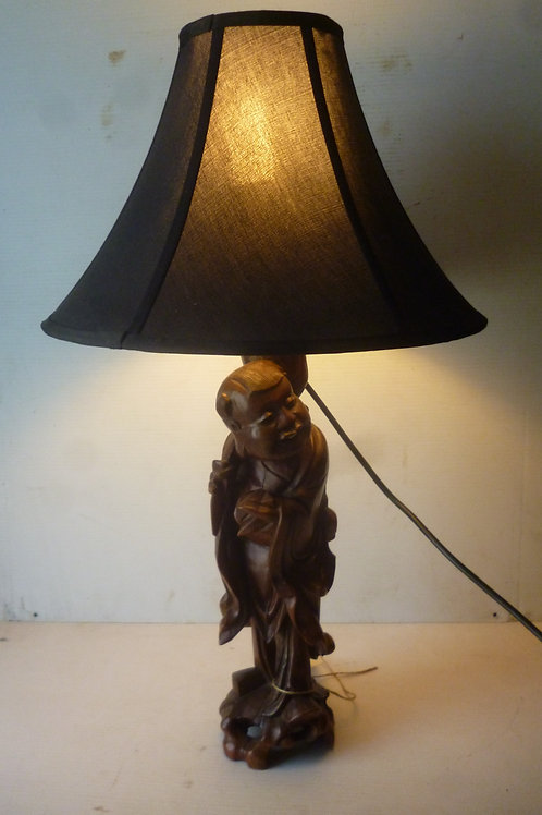 Antique carved Chinese table lamp